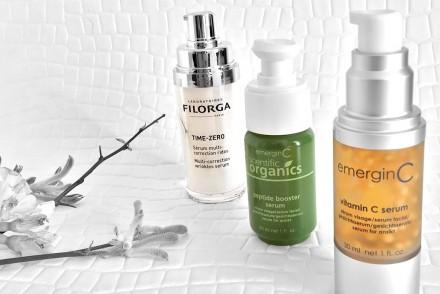 Anti-aging effects with Filorga Time Zero, EmerginC vitamin C serum and Scientific Organics Peptide Booster Serum.