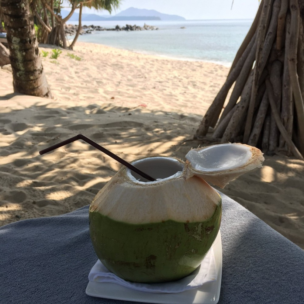 Fresh coconut on Trisara resort beach