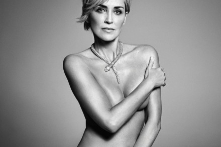 Sharon Stone posing all naked for Mark Abrahams for Harpers Bazaar US september Issue