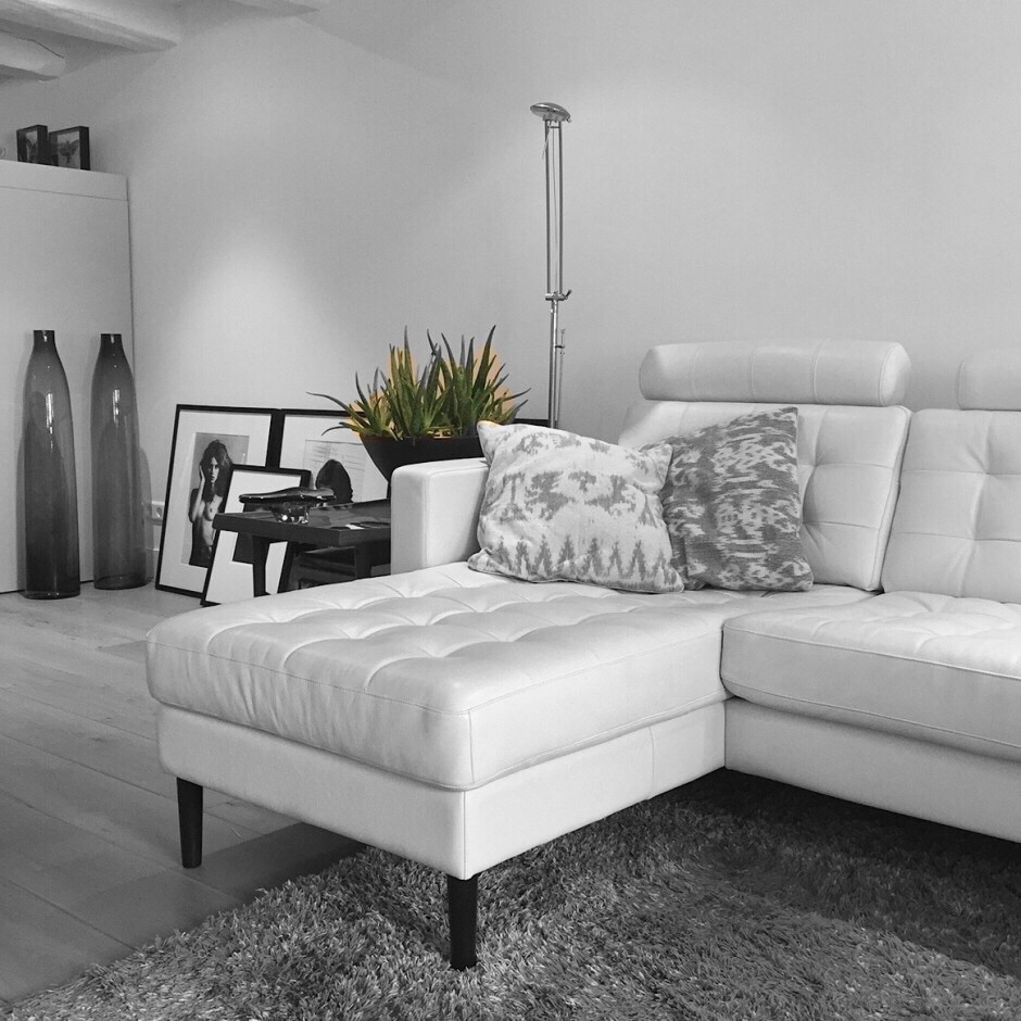 Ikea Karlstad couch with new legs from pretty pegs